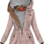 Krátká bunda parka ve starorůžové barvě s kapucí (TLR335)