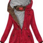 Krátká červená bunda parka s kapucí (TLR335)