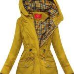 Krátká žlutá bunda parka s kapucí (TLR243)