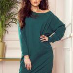 Volné dámské teplákové oversize šaty v lahvově zelené barvě 293-1
