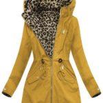 Žlutá oboustranná bunda parka s kapucí (W304-1)
