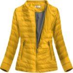 Žlutá prošívaná bunda s kulatým výstřihem (S-111)