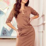 AGATA – Světle hnědé dámské šaty s límečkem 161-15