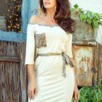 Béžové dámské šaty s kapsičkou a ozdobným panteřím vzorem 278-2