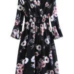 Černé dámské šifónové květované šaty (483ART)