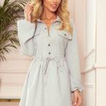 CLARA – Šedé dámské košilové šaty s knoflíky a dlouhými rukávy 298-1