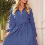 CLARA – Světle modré dámské košilové šaty s knoflíky a dlouhými rukávy 298-2