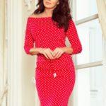 Dámské červené sportovní puntíkované šaty se zavazováním a kapsičkami model 7243926