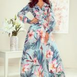 Dámské maxi šaty s volánkem, výstřihem a se vzorem růžových květů a listů model 7754117