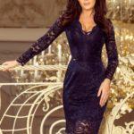 Dámské tmavě modré krajkové šaty s výstřihem a dlouhými rukávy model 7156526