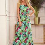 Dlouhé dámské letní šaty na ramínkách, se vzorem zelených listů a růžových květů 294-2