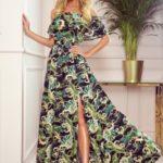 Dlouhé dámské šaty se španělským výstřihem a vzorem zelených listů a zlatých řetízků 194-4