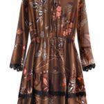 Hnědé šifonové šaty s volánky (452ART)
