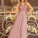LEA – Dlouhé dámské šaty v barvě taupe bez rukávů, s vyšívaným výstřihem 215-5