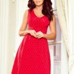 Rozšířené červené dámské puntíkované šaty s dekoltem model 7248163