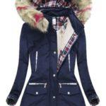 Tmavě modrá zimní bunda s kapucí (39911)