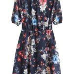 Tmavě modré dámské šifonové šaty s volánky (352ART)