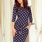 Tmavě modré dámské sportovní puntíkované šaty se zavazováním a s kapsičkami model 7239287