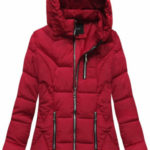 Červená prošívaná bunda s kapucí (B9901)