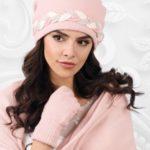 Dámský komplet šála + čepice model 163828 světle růžová – Kamea