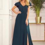 LIDIA – Dlouhé dámské šaty v lahvově zelené barvě s výstřihem a volánky 310-1