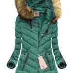 Prošívaná bunda v mořské akvamarínové barvě s kapucí (W598)