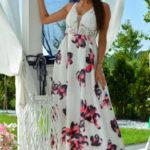 Bílé dámské květované šaty EVA & LOLA 60006-1