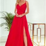 CHIARA – Elegantní červené dámské maxi šaty na ramínkách 299-1