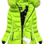 Prošívaná bunda v limetkové barvě s kapucí (W810BIG)