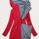 Červeno-pepitová oboustranná vypasovaná dámská bunda (W350)