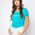 Dámské tričko 163321 0P317 00383 modrá – Emporio Armani