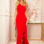 Dlouhé červené dámské šaty ve španělském stylu přes jedno rameno 317-1