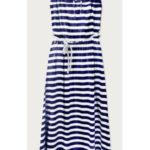Modro-bílé dlouhé šaty na ramínka (594ART)