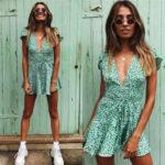 Zelené krátké letní dámské šaty (601ART)