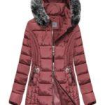Delší růžová dámská prošívaná zimní bunda s kapucí (B2619-30)