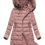 Prošívaná dámská zimní bunda ve starorůžové barvě s kapucí (7754)