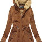 Teplá dámská zimní bunda parka v karamelové barvě (XW807BIGX)