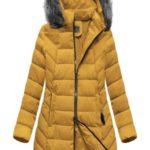 Žlutá delší dámská zimní bunda s kapucí (B2646)