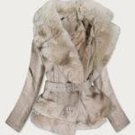 Béžová bunda ramoneska s kožešinovým límcem (0580)