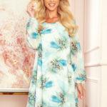 HANNAH – Dámské šifonové šaty s výstřihem na zádech a se vzorem světle modrých vážek 319-1