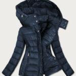 Tmavě modrá dámská prošívaná bunda s kapucí, kterou je možné odepnout (7560)