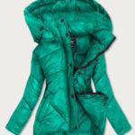 Zelená dámská prošívaná bunda s kapucí, kterou je možné odepnout (7564)