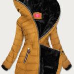 Žlutá prošívaná dámská zimní bunda s kapucí (M-133)