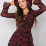 RUE PARIS Černé a vínové šaty s květinovými vzory