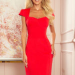 Červené dámské šaty v délce midi s pěkným výstřihem 318-1
