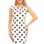 Dámské šaty bez rukávů s puntíky středně dlouhé bílé – Bílá / S/M – Beauty Fashion
