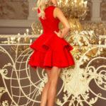 Dámské exkluzivní šaty s dvojitou sukénkou a krajkovým dekoltem červené – Červená – Numoco