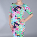 Dámské šaty pro plnoštíhlé květinový vzor barevné – Zelená / 38 – Efect