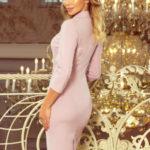 Dámské společenské šaty pouzdrové s 3/4 rukávem a límečkem starorůžové – Růžová / S – Numoco