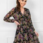 RUE PARIS Černé šaty s květinovými vzory